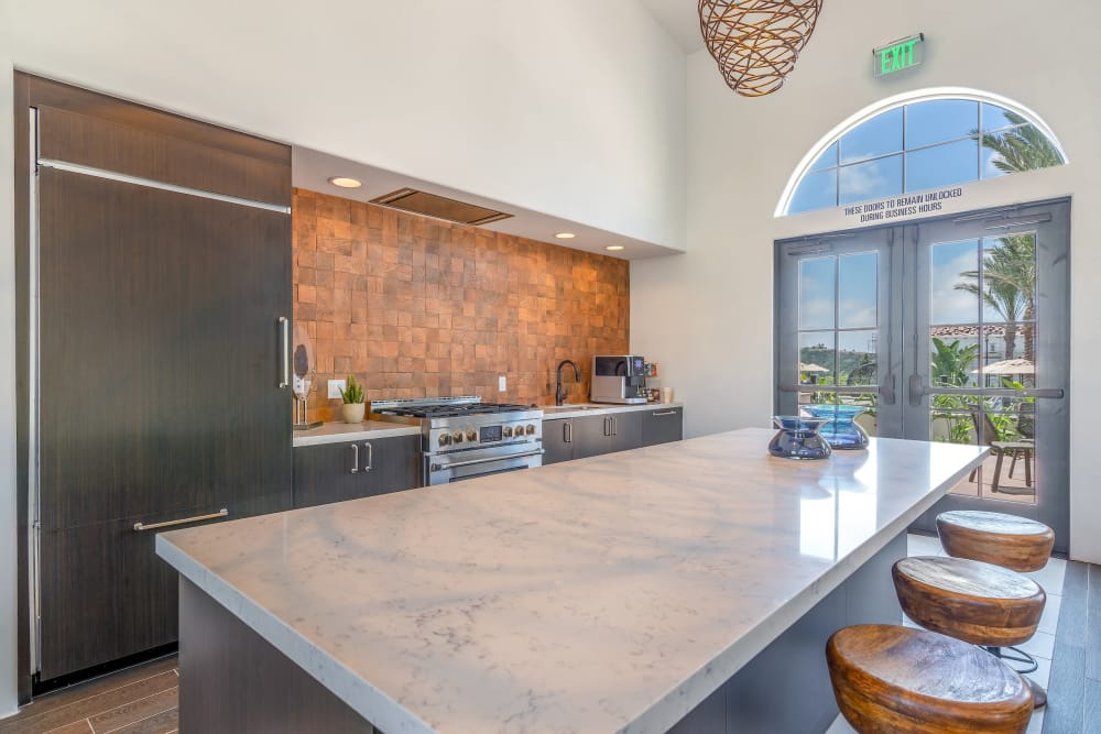 Kitchen in the club house at Montecito Apartments at Carlsbad in Carlsbad, California