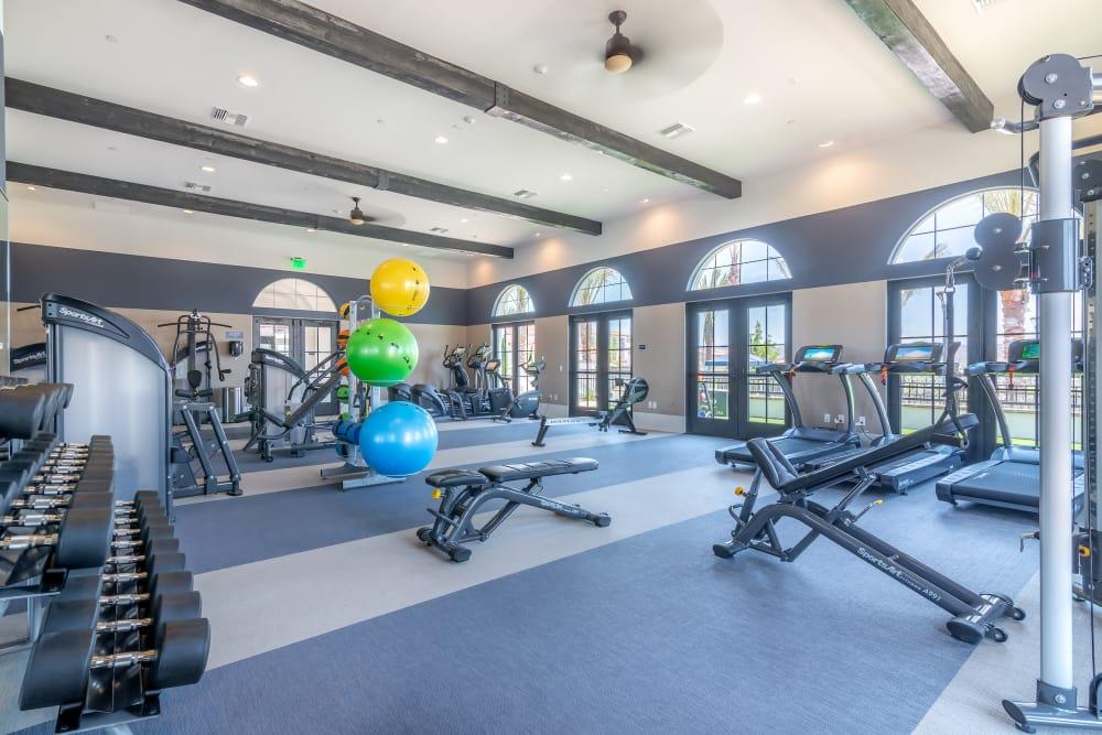 Spacious fitness center at Montecito Apartments at Carlsbad in Carlsbad, California