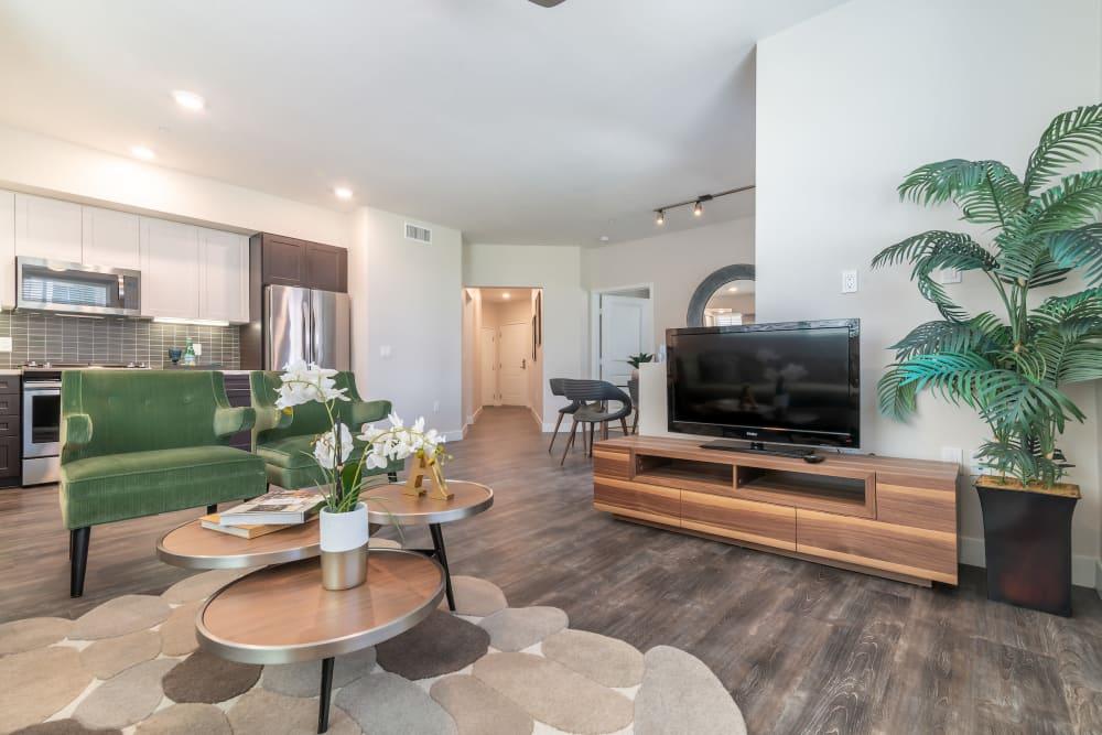 Modern living room at Montecito Apartments at Carlsbad in Carlsbad, California