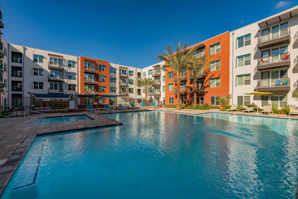 Sparkling outdoor pool at Encore Tessera in Phoenix, Arizona