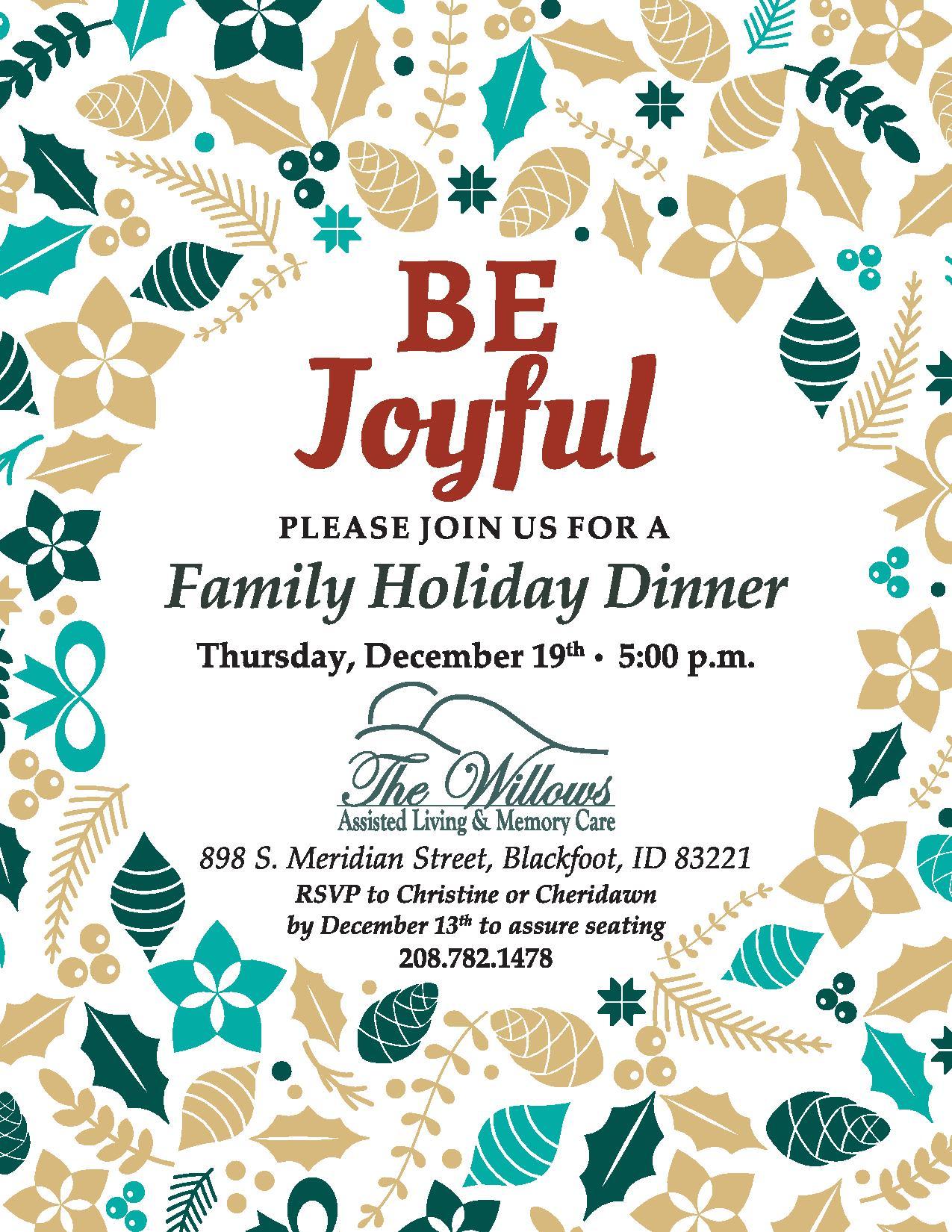 A flyer for The Willow's Be Joyful Family Dinner on Thursday, December 19 at 5 p.m.