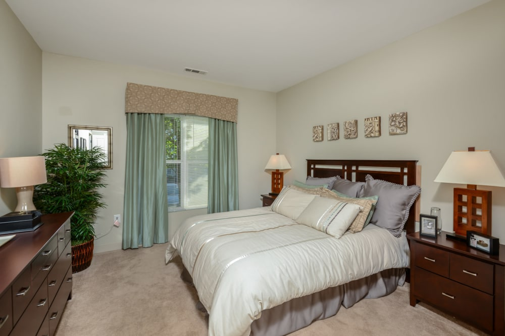 Carpeted bedroom with large window at Sofi Danvers in Danvers, MA