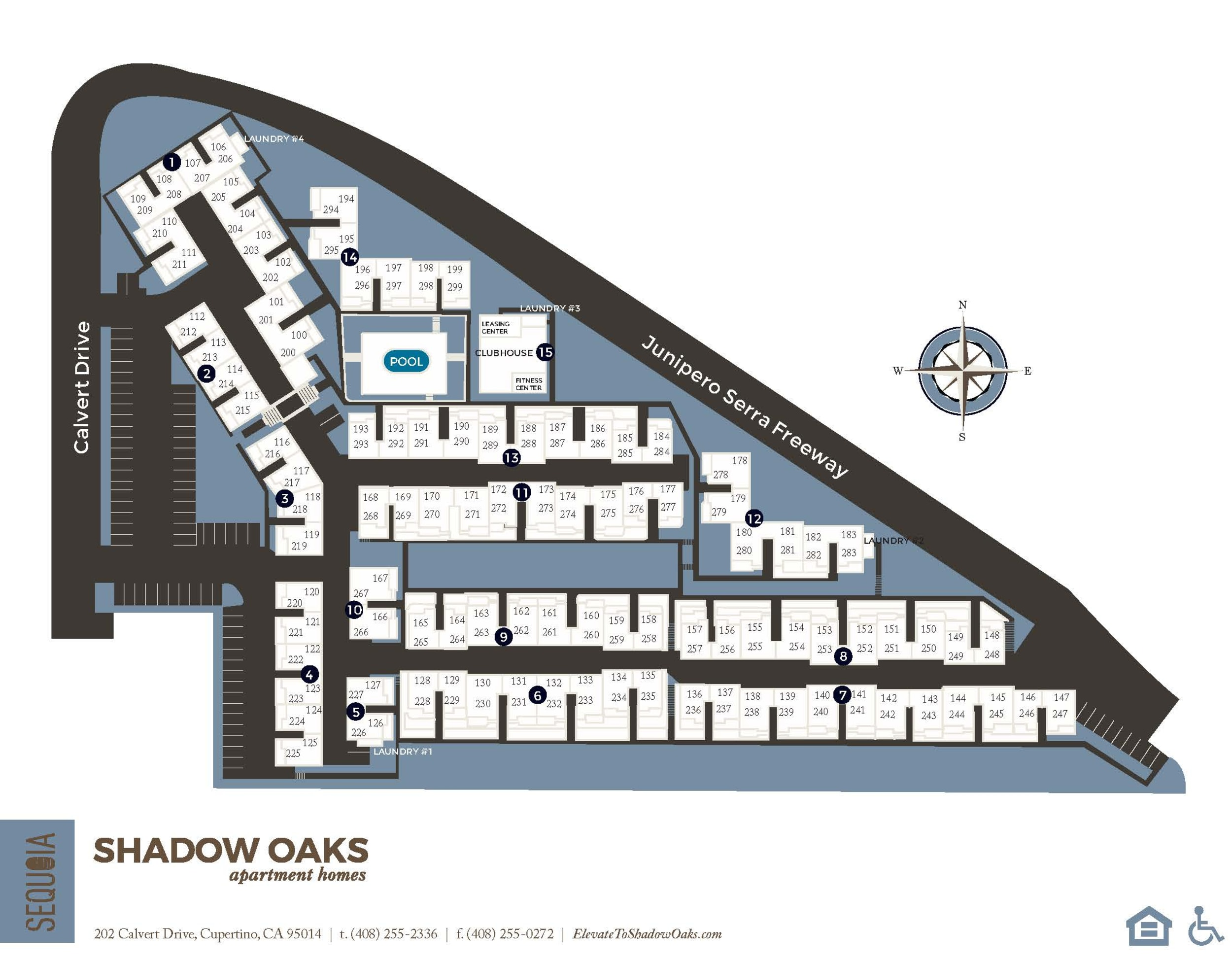 Community site map for Shadow Oaks Apartment Homes in Cupertino, California