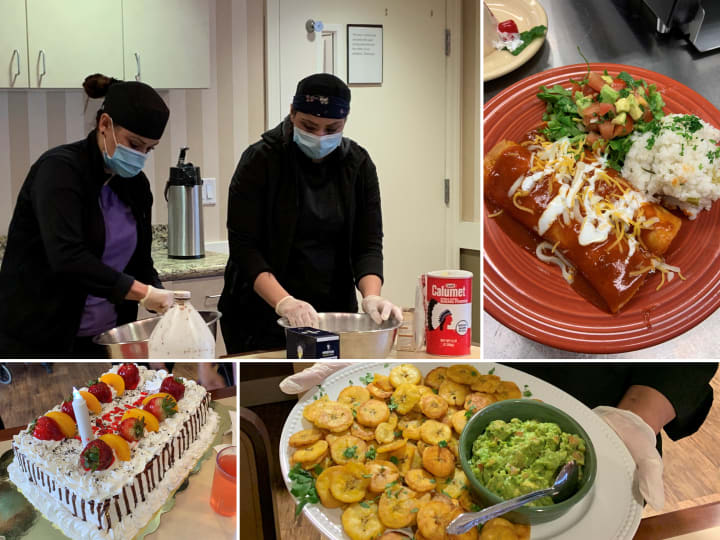Food Service Team at Barrington Place Alzheimer's Special Care Center cooking delicious food and celebrating resident birthdays