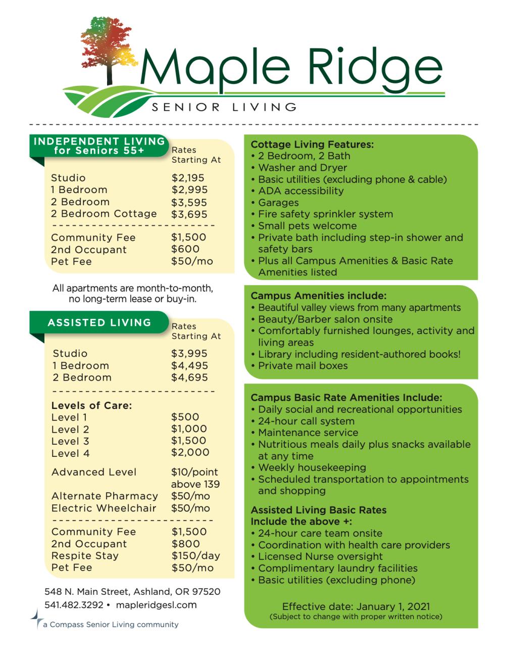 Maple Ridge Senior Living rates