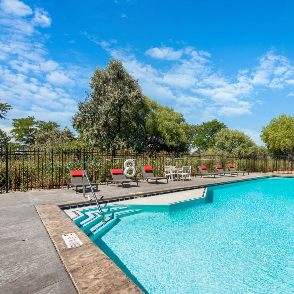 Sparkling pool at Florida Station Apartments in Aurora, Colorado
