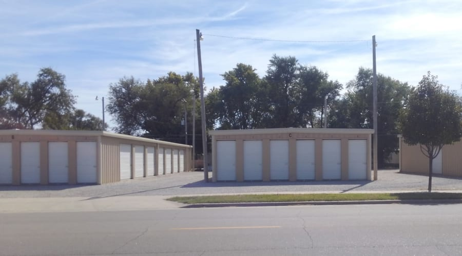 Exterior view of storage units with white doors at KO Storage of Hutchinson in Hutchinson, Kansas