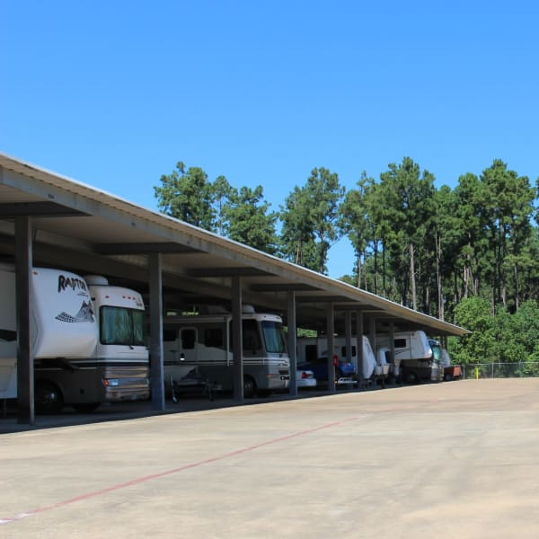 Covered RV, boat, and auto storage at StorQuest Self Storage in Spring, Texas