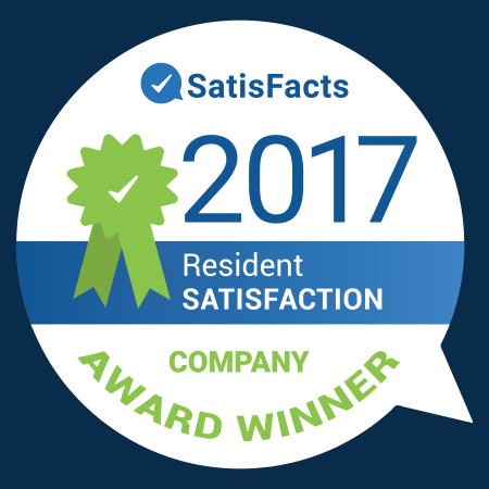 2017 resident satisfaction award for Vantage Management in Gaithersburg, Maryland