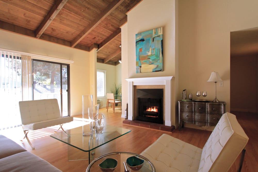 Living room model at Glenbrook Apartments in Cupertino, California