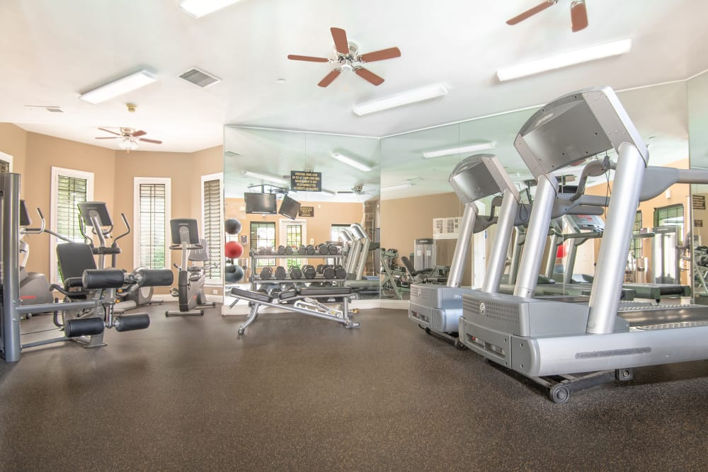 Fitness center at Villas at Parkside in Farmers Branch, Texas