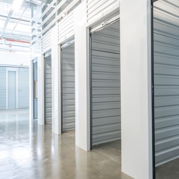Open climate-controlled units at StorQuest Self Storage in Portland, Oregon