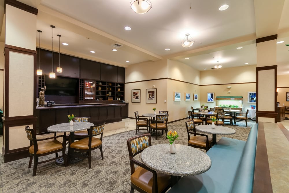 Dining room featuring a bistro at our senior living community in Kirkland, WA
