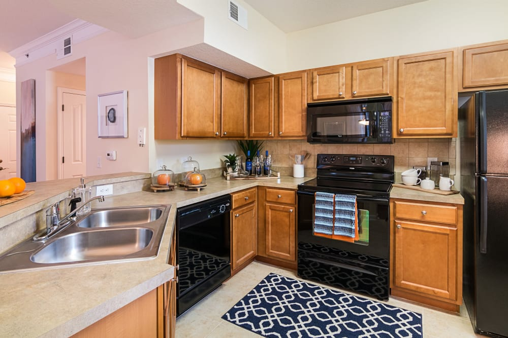 Spacious kitchen in model apartment home at Landings at Four Corners in Davenport, Florida