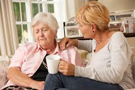 Female senior spending time with a family member.