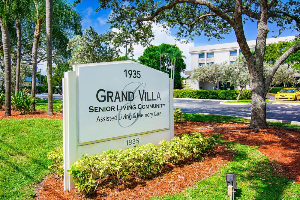 Memorial sign at Grand Villa of Boynton Beach in Florida