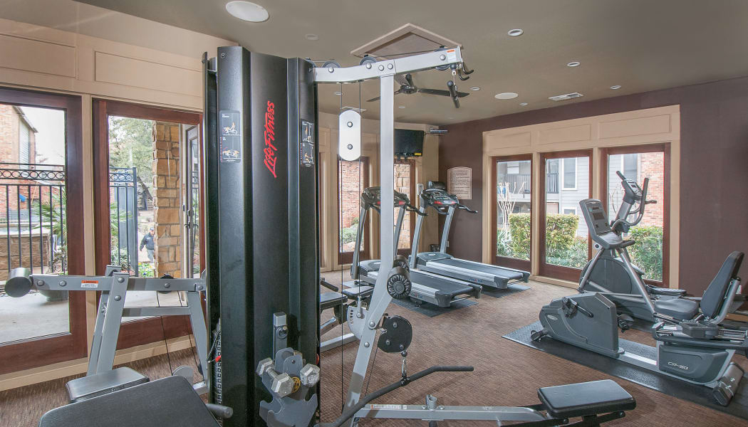 Well-equipped fitness center at Grayson Ridge in North Richland Hills, Texas