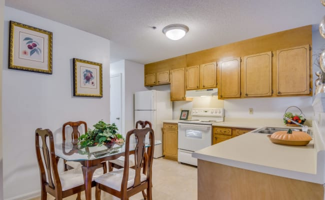 Kitchen with plenty of counterspace at Woodbrook Apartment Homes in Monroe, North Carolina