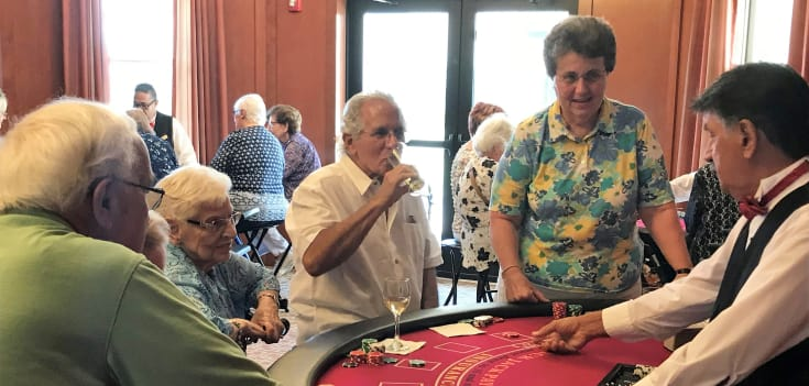 group of senior residents at casino night