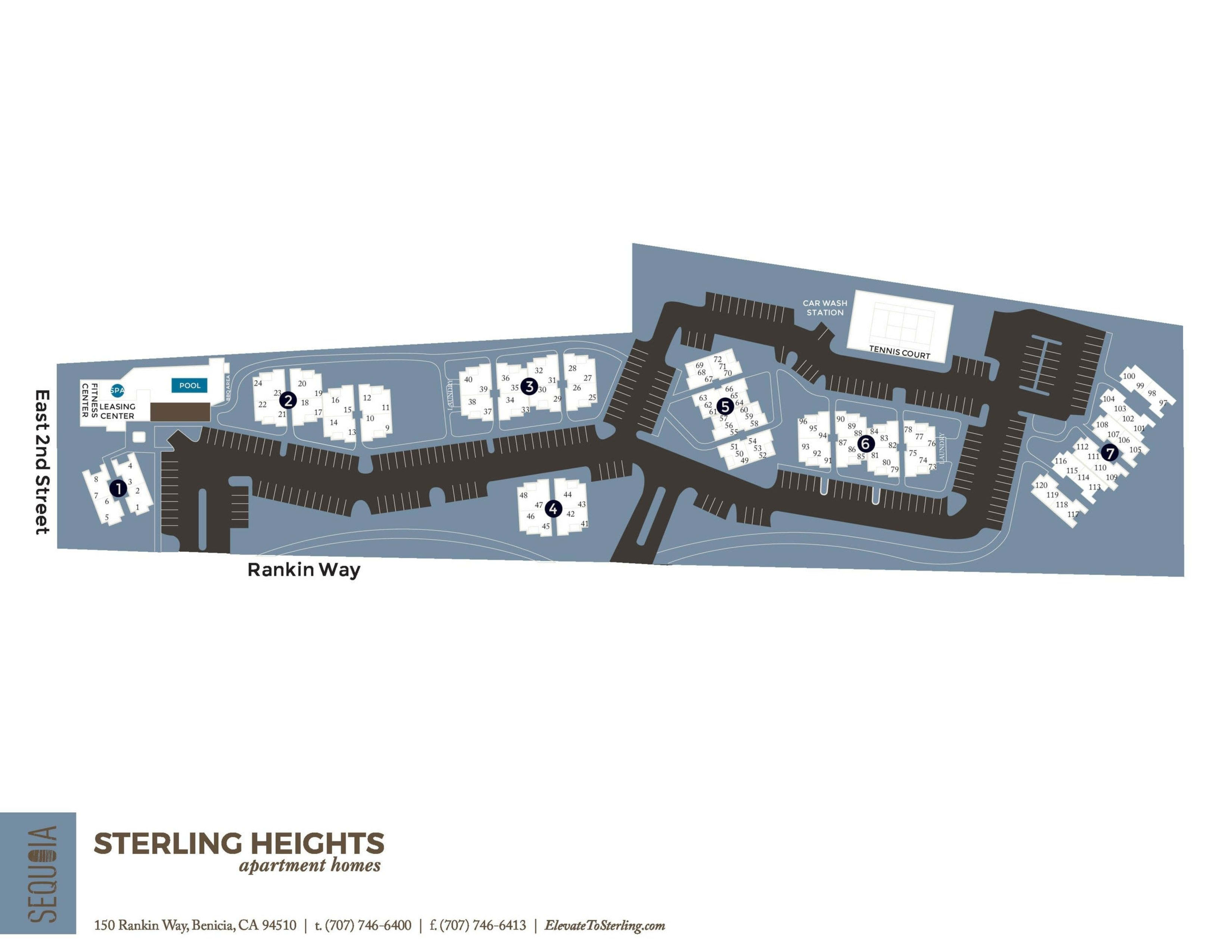 Community site map for Sterling Heights Apartment Homes in Benicia, California