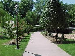 Beautifully landscaped walking path
