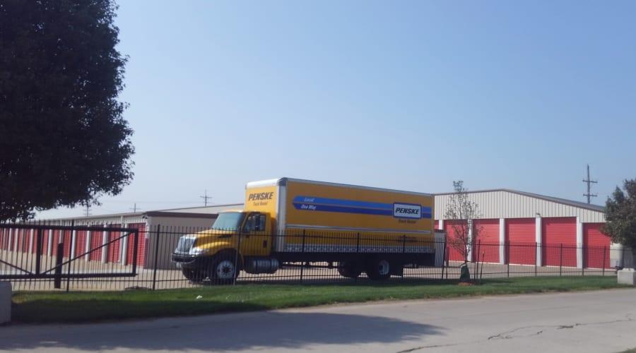 A moving truck outside of storage units at KO Storage of Salina - 9th in Salina, Kansas