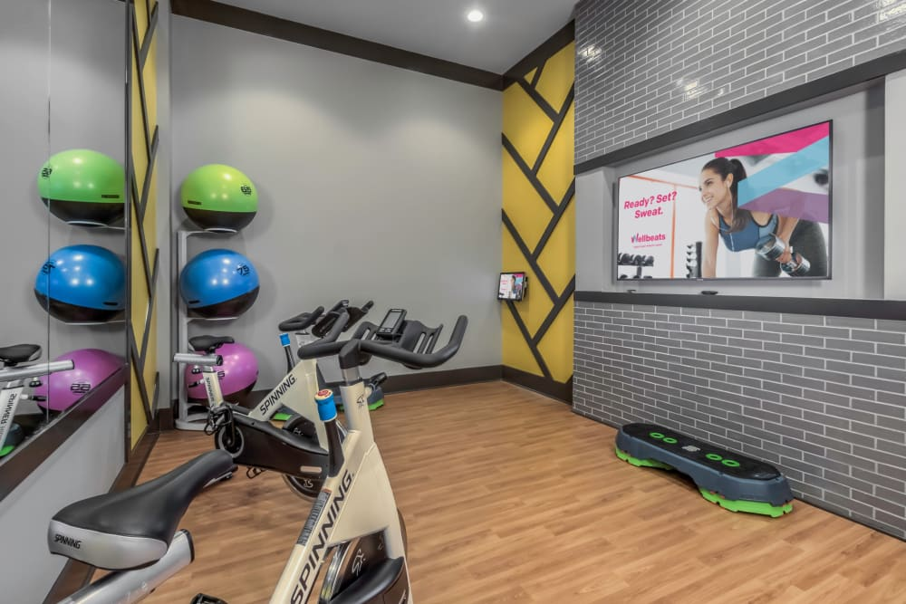Very well-equipped fitness center at The Palmer in Charlotte, North Carolina
