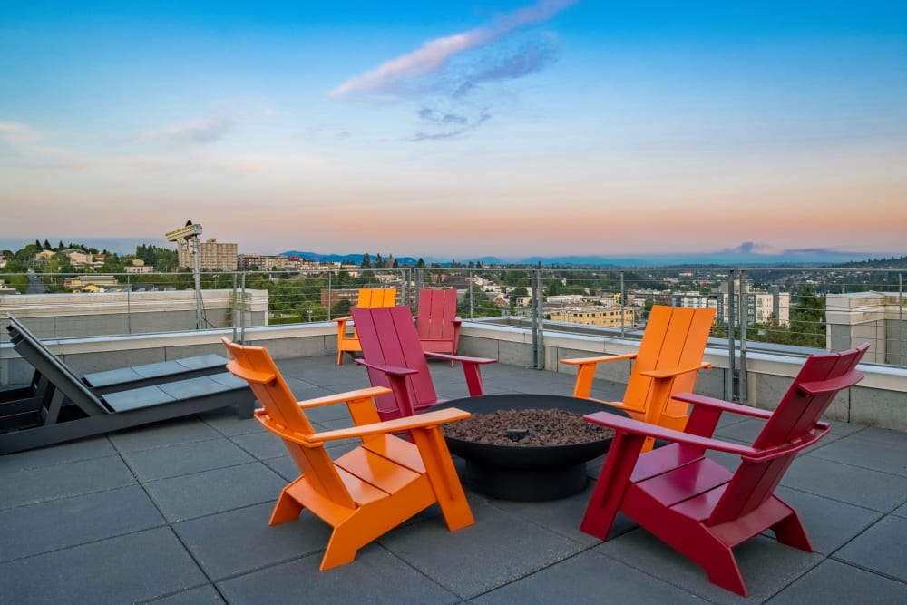 Rooftop at twilight at Anthem on 12th in Seattle, Washington