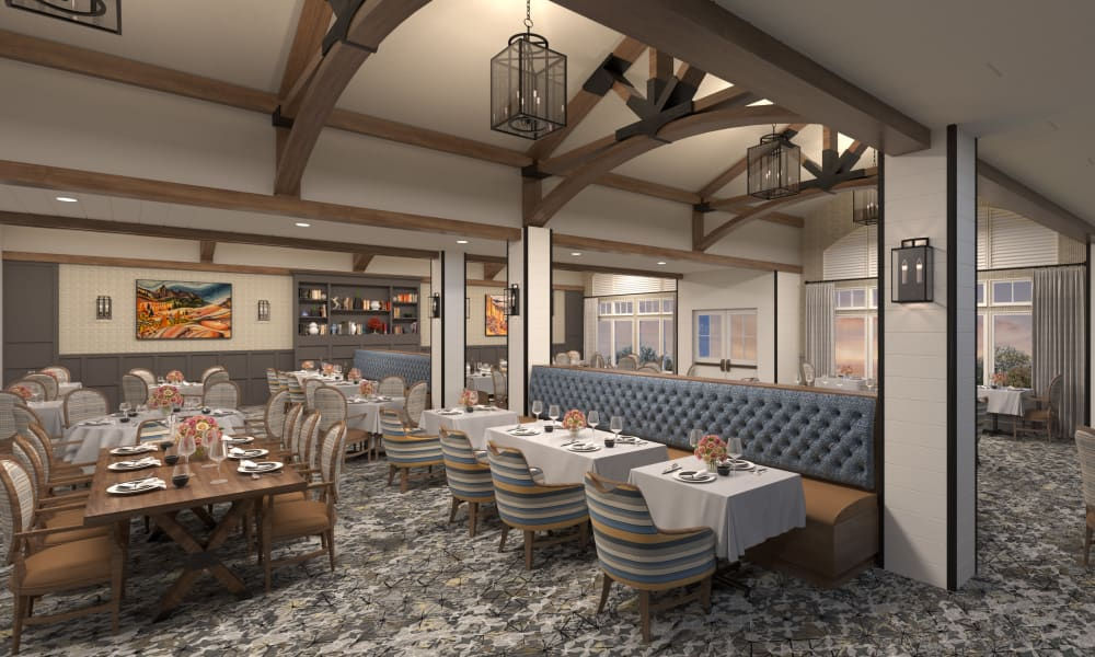 The main dining room at Touchmark at Fairway Village in Vancouver, Washington