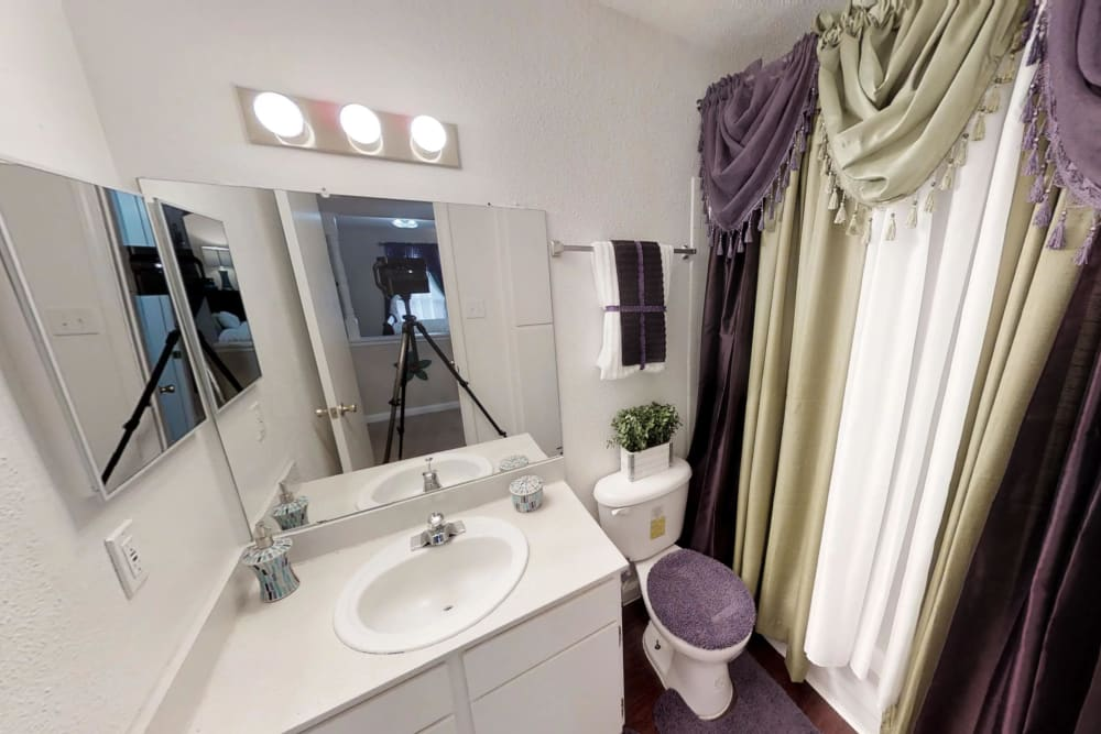 Apartments with nice bathrooms at Northlake Manor Apartments in Humble, TX