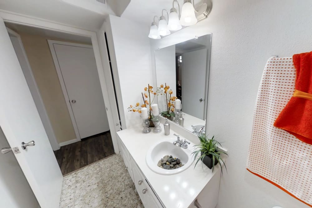 Master Bathroom at Palms at Chimney Rock Apartments in Houston, TX