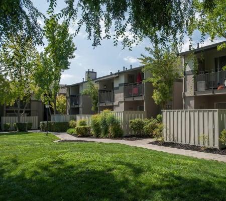 Exterior of apartment buildings at Valley Ridge Apartment Homes in Martinez, California