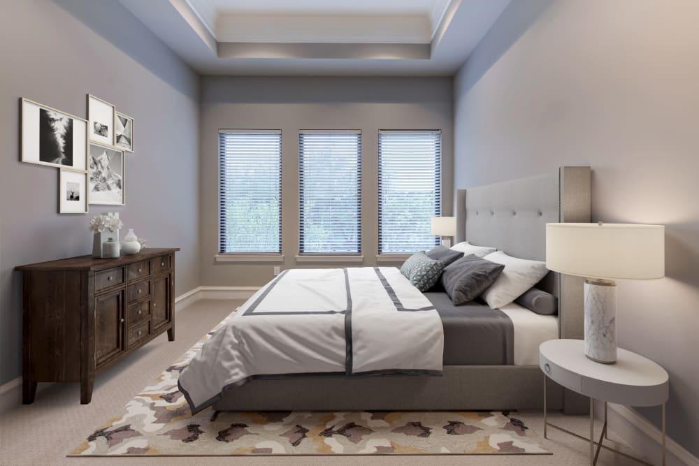 Cozy bedroom at Rienzi at Turtle Creek Apartments