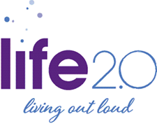 Life 2.0 living out loud logo at Cherry Park Plaza in Troutdale, Oregon