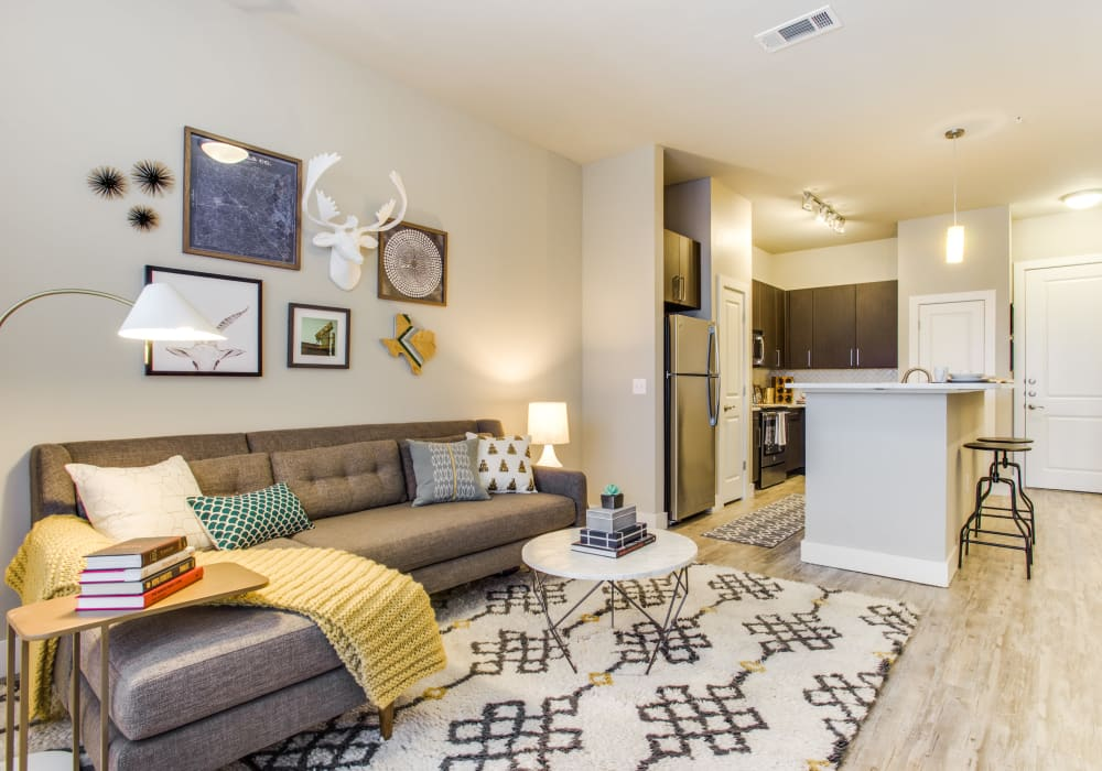 State-of-the-art living room at Maple District Lofts in Dallas, Texas
