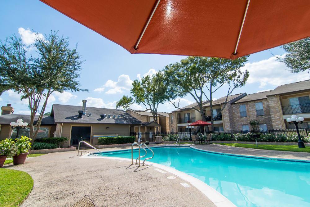 A swimming pool that is great for entertaining at apartments in Humble, Texas