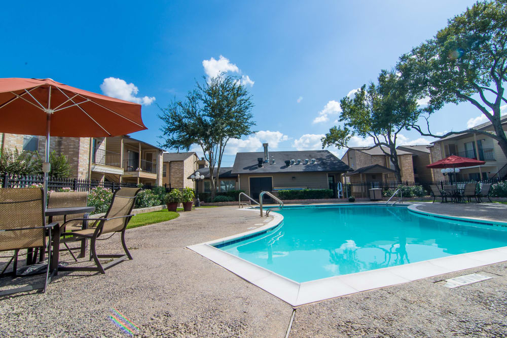Modern swimming pool at apartments in Humble, Texas