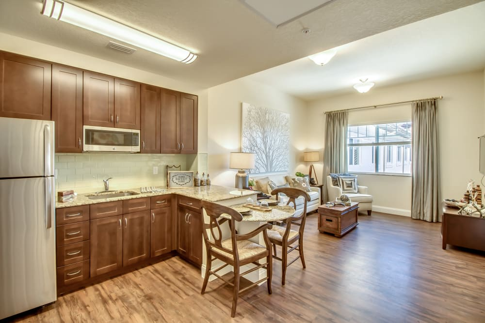 kitchen with dining & living room