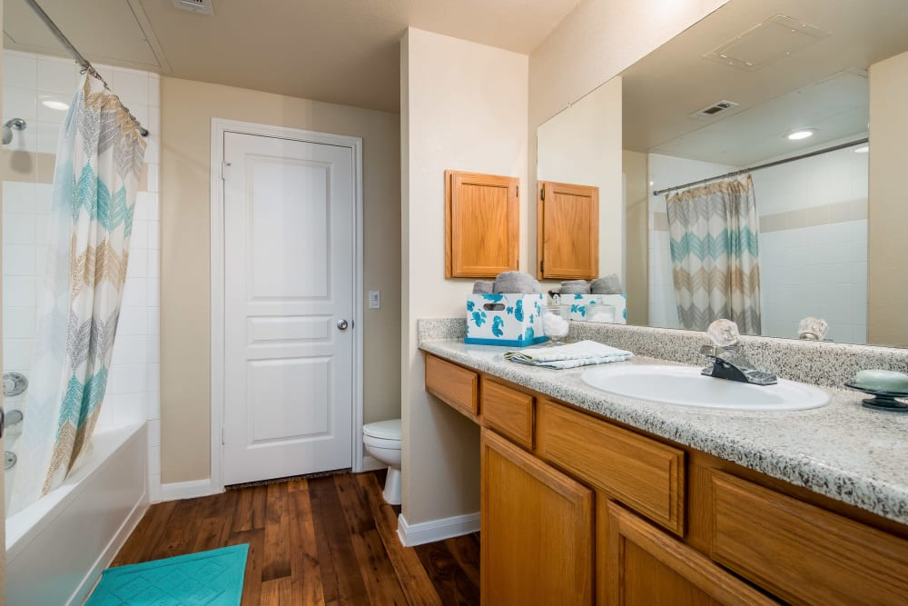 Bathroom in an apartment at Reserve at Pebble Creek in Plano, Texas