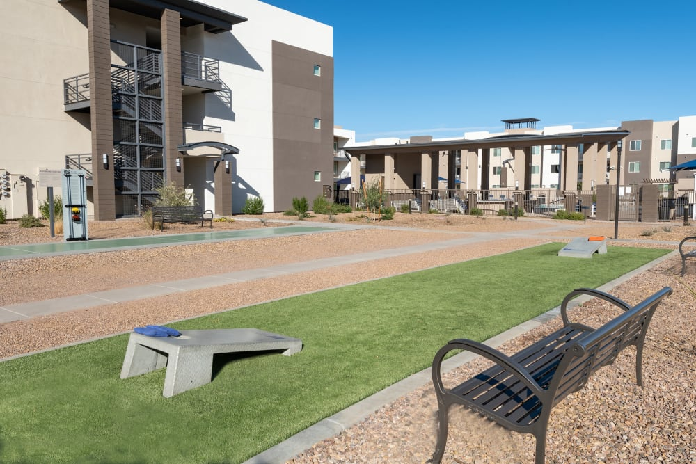 Outdoor Corn Hole Area at Sky at Chandler Airpark in Chandler, AZ