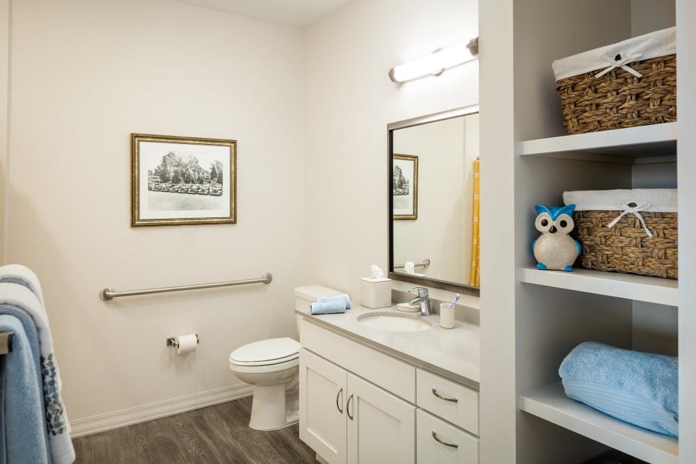 A resident bathroom at Anthology of Mason in Mason, Ohio