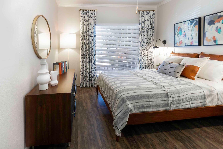 Bedroom at Irving Schoolhouse Apartments in Salt Lake City, Utah