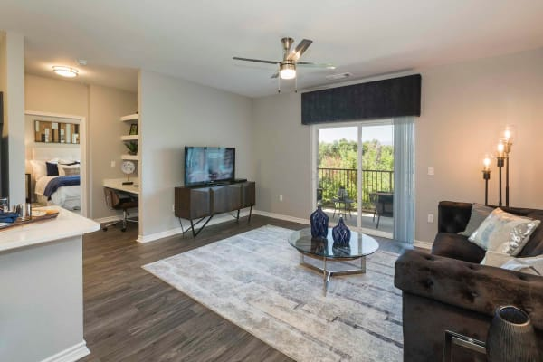 Enjoy a modern living room at Peaks at Woodmen Apartments