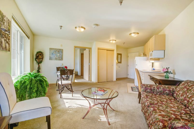 Model living room at The Commons on Thornton in Stockton, California