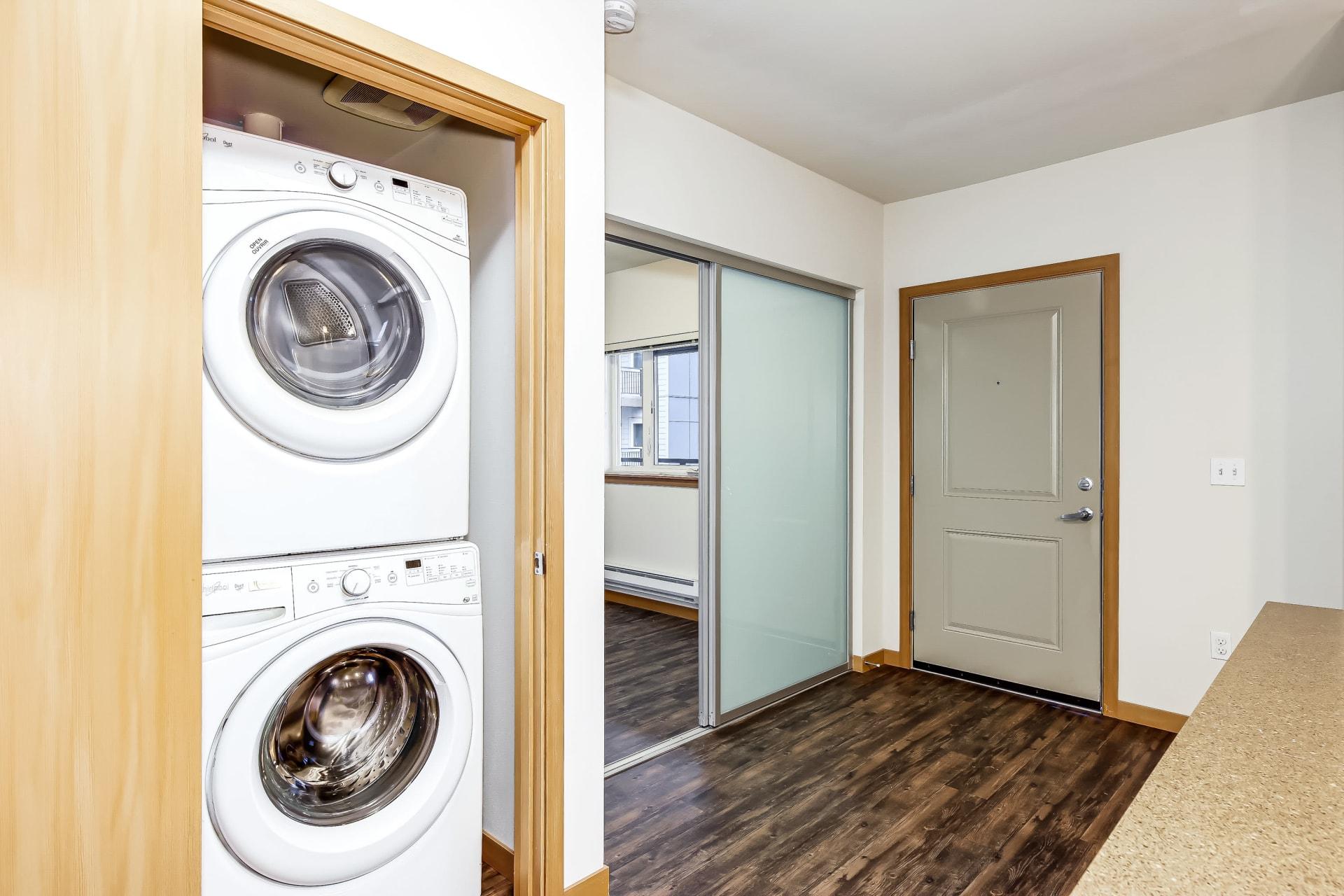 Model kitchen at Trillium Apartments in Edmonds, Washington