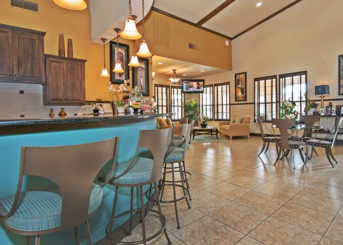 Bright and airy resident clubhouse with modern decor at Trails at Buda Ranch in Buda, Texas