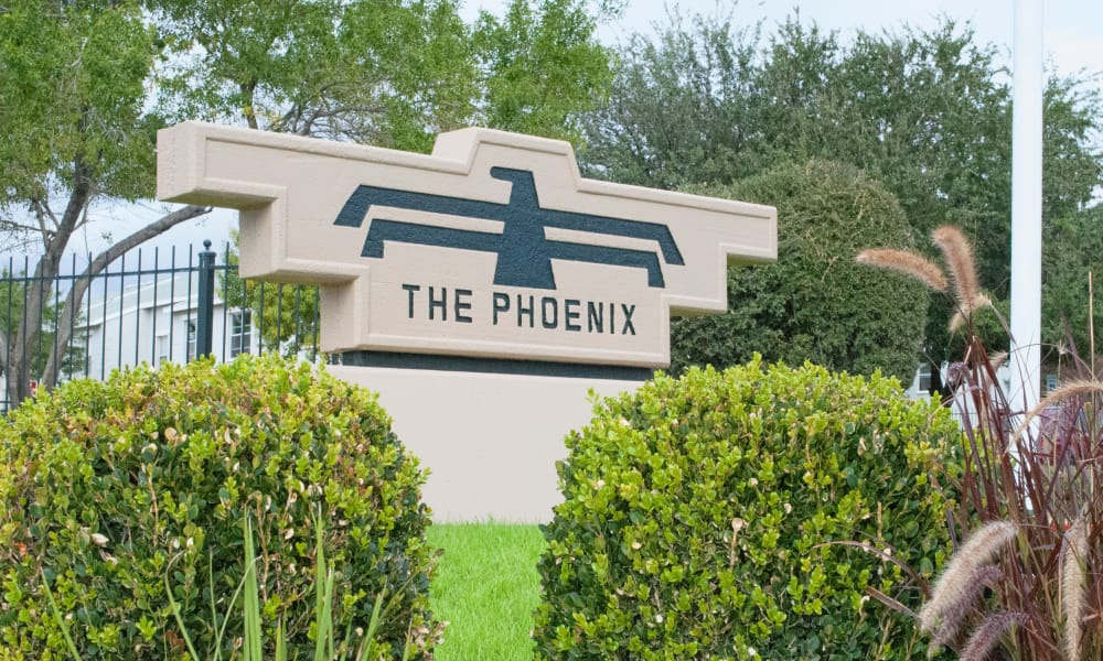 Front sign at The Phoenix Apartments in El Paso, Texas