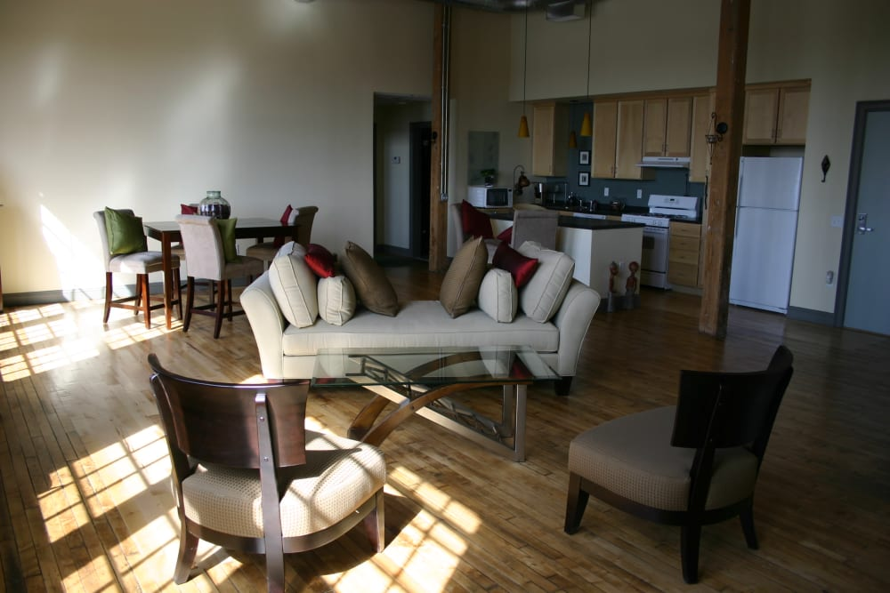 Model living room at Westfield Lofts in Providence, Rhode Island