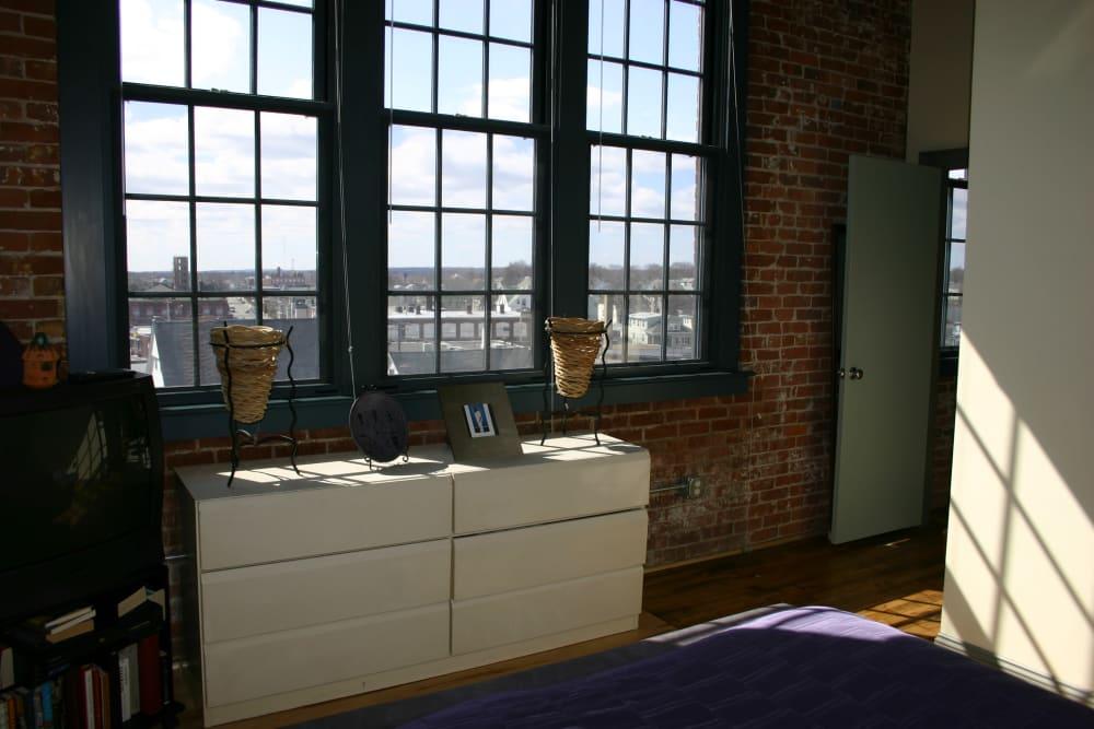 Model bedroom at Westfield Lofts in Providence, Rhode Island