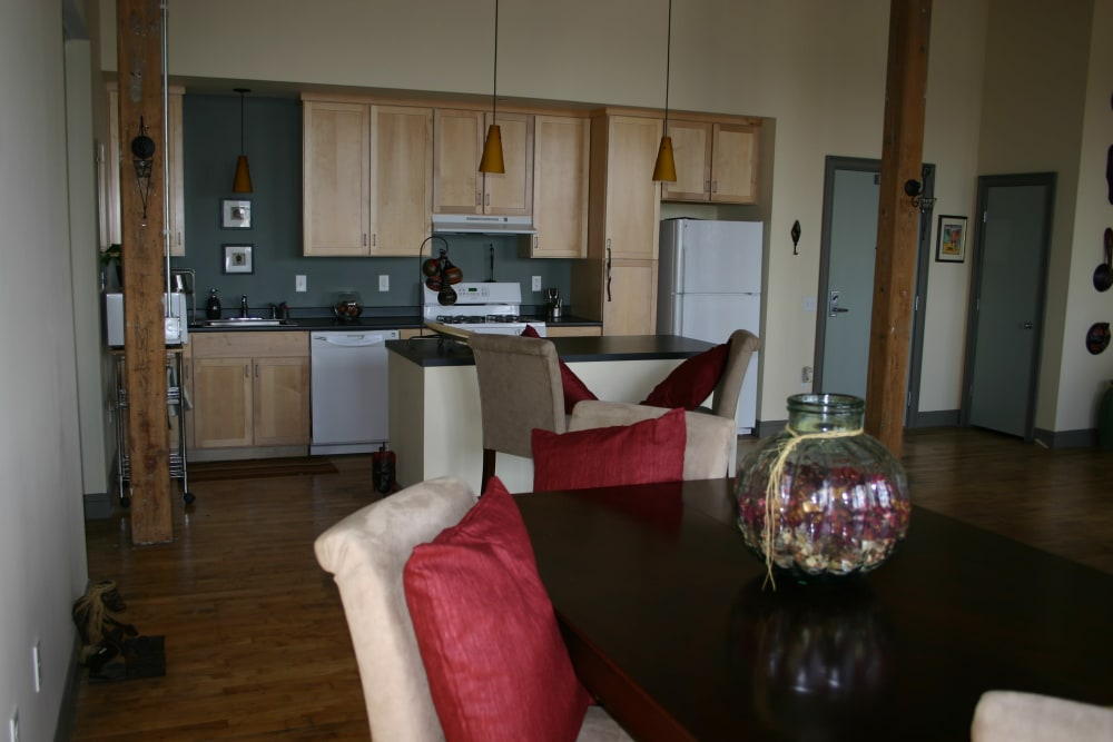 Dining area and kitchen at Westfield Lofts in Providence, Rhode Island